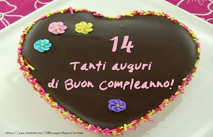 Torta 14 anni - Tanti auguri di Buon Compleanno!