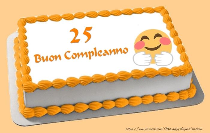 Conosciuto Buon Compleanno 25 anni Torta - messaggiauguricartoline.com NX85