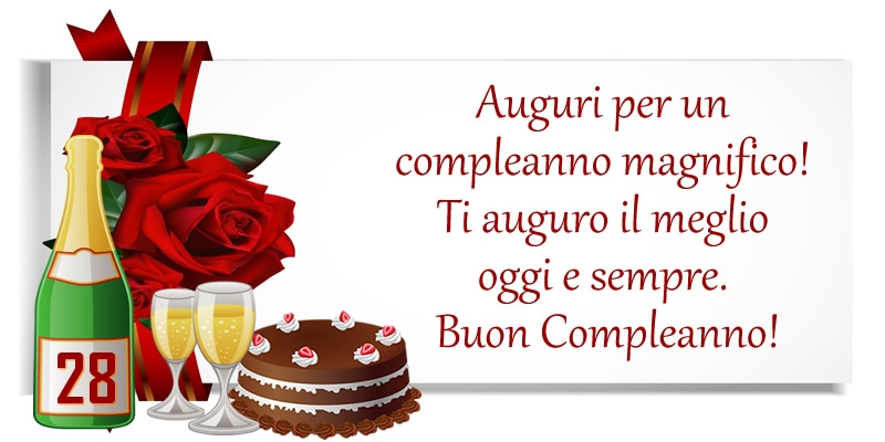 28 anni - Auguri per un compleanno magnifico! Ti auguro il meglio oggi e sempre. Buon Compleanno!
