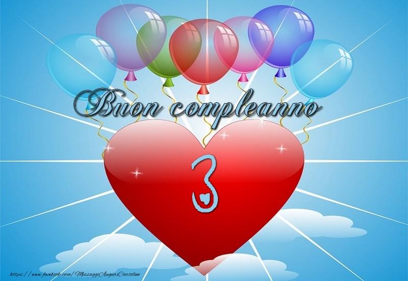 Famoso Buon Compleanno, 3 anni! - messaggiauguricartoline.com SA53