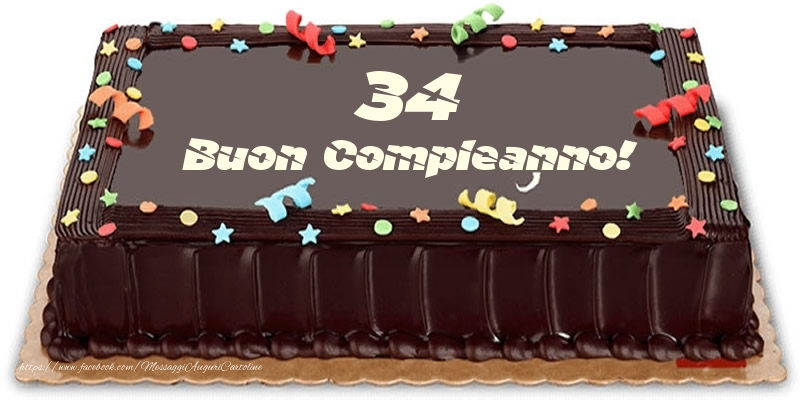Torta 34 anni Buon Compleanno!