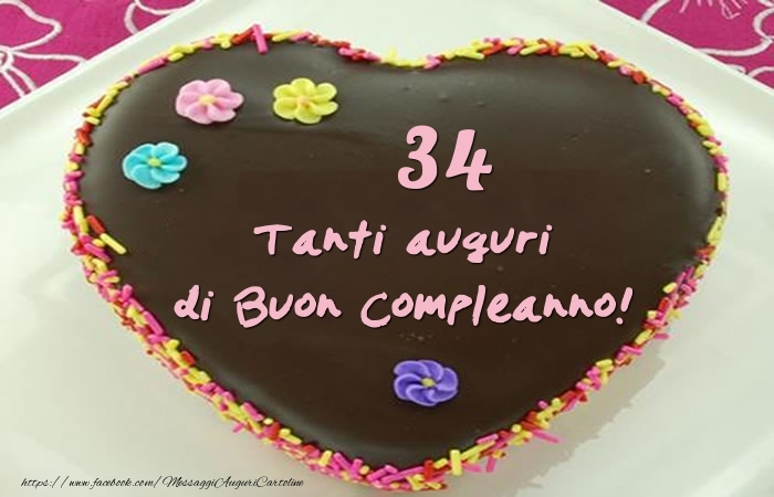 Torta 34 anni - Tanti auguri di Buon Compleanno!