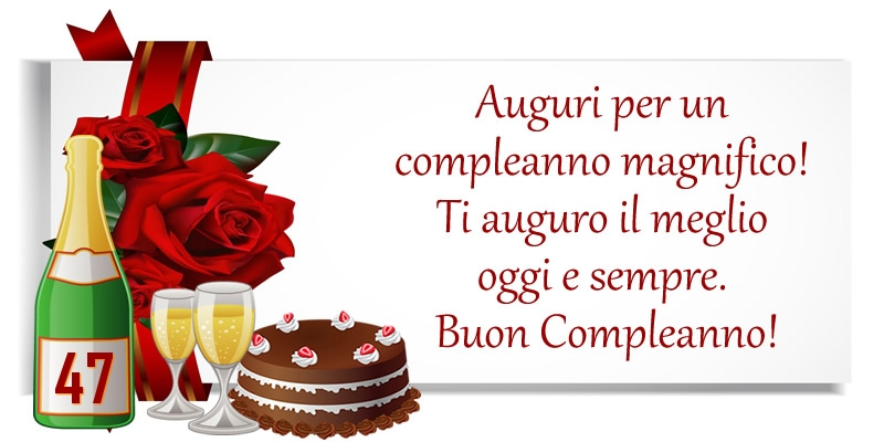 47 anni - Auguri per un compleanno magnifico! Ti auguro il meglio oggi e sempre. Buon Compleanno!