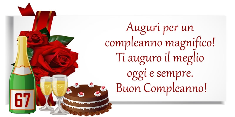 67 anni - Auguri per un compleanno magnifico! Ti auguro il meglio oggi e sempre. Buon Compleanno!