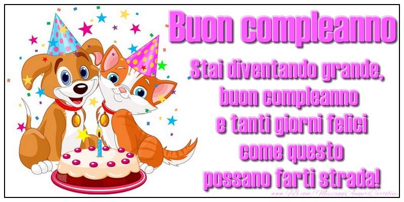 Bambini Buon compleanno! Stai diventando grande, buon compleanno e tanti giorni felici come questo possano farti strada!