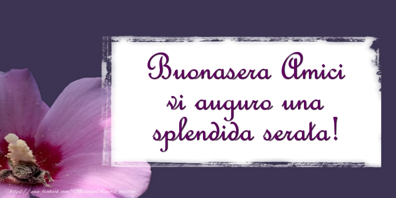 Cartoline di buonasera - Buonasera Amici vi auguro una splendida serata! - messaggiauguricartoline.com