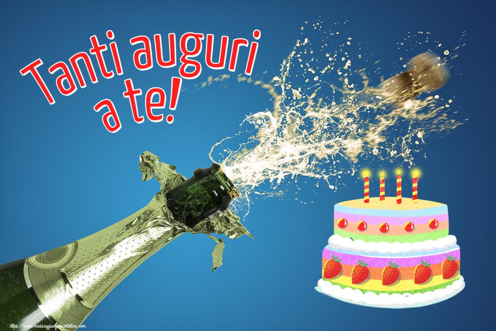Cartoline di compleanno con torta - Tanti auguri a te!