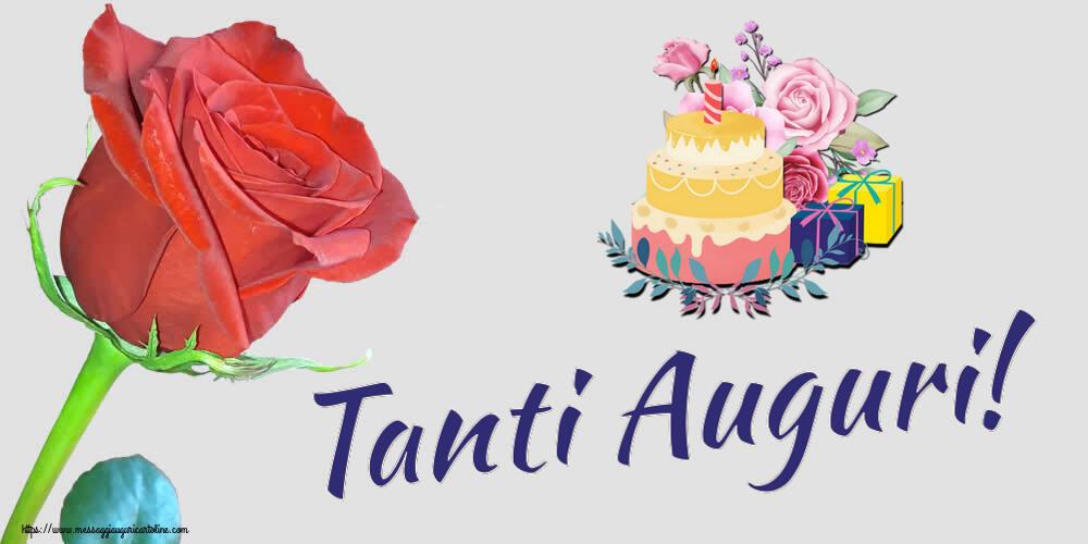 Cartoline di compleanno con torta - Tanti Auguri!