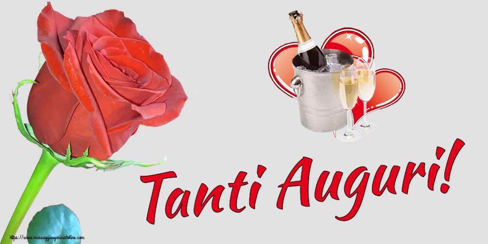 Cartoline di compleanno con champagne - Tanti Auguri!