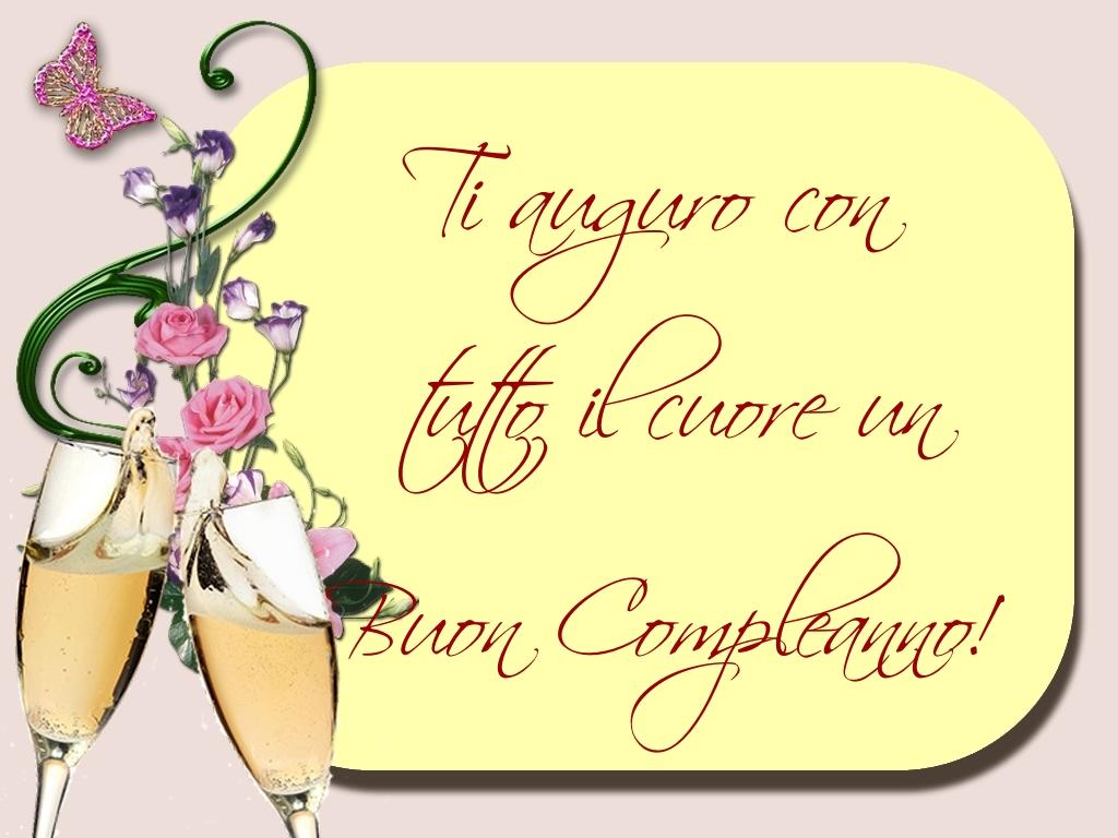 Cartoline di compleanno - Ti auguro con tutto il cuore un Buon Compleanno!