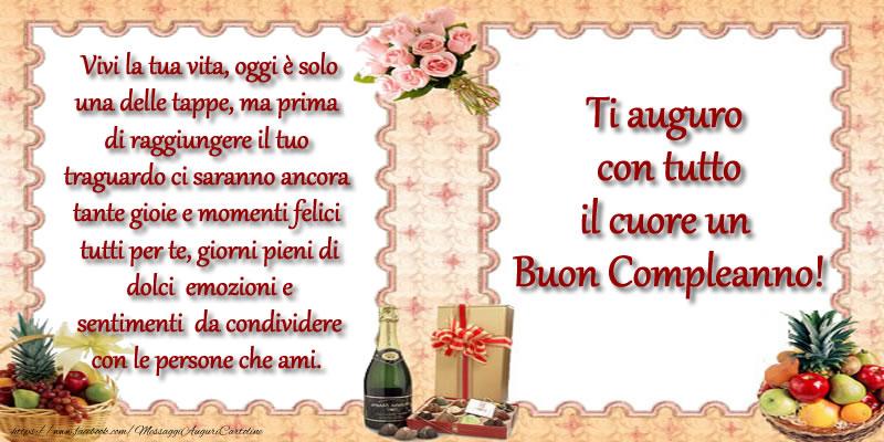 Il più popolari cartoline di compleanno - Ti auguro con tutto il cuore un Buon Compleanno!