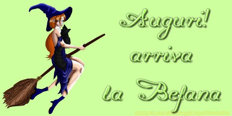 Cartoline di Befana - Auguri! arriva la Befana