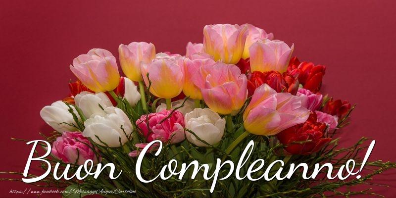 Cartoline con fiori - Buon Compleanno! - messaggiauguricartoline.com