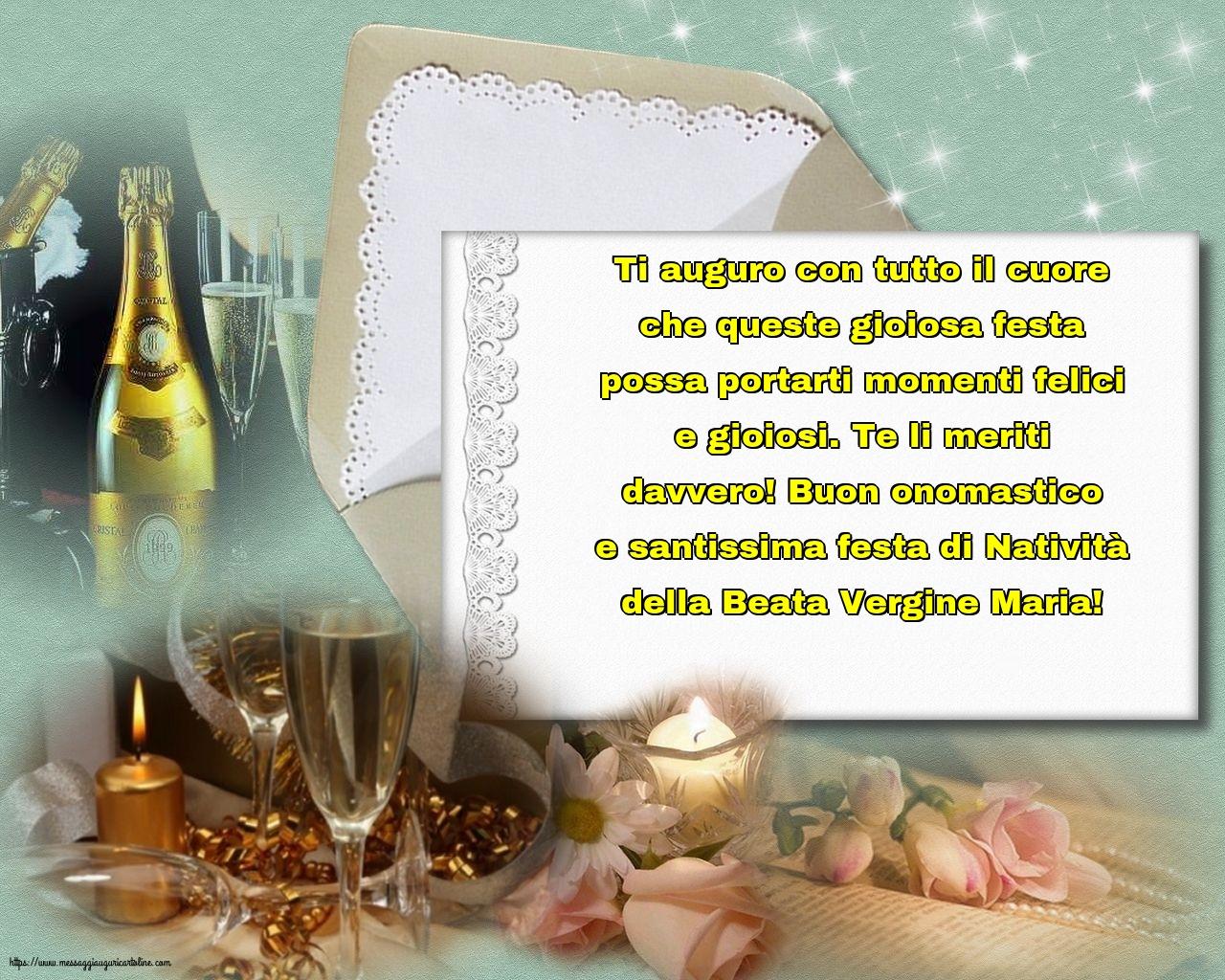 Cartoline per la Natività della Beata Vergine Maria - Buon onomastico e santissima festa di Natività della Beata Vergine Maria!