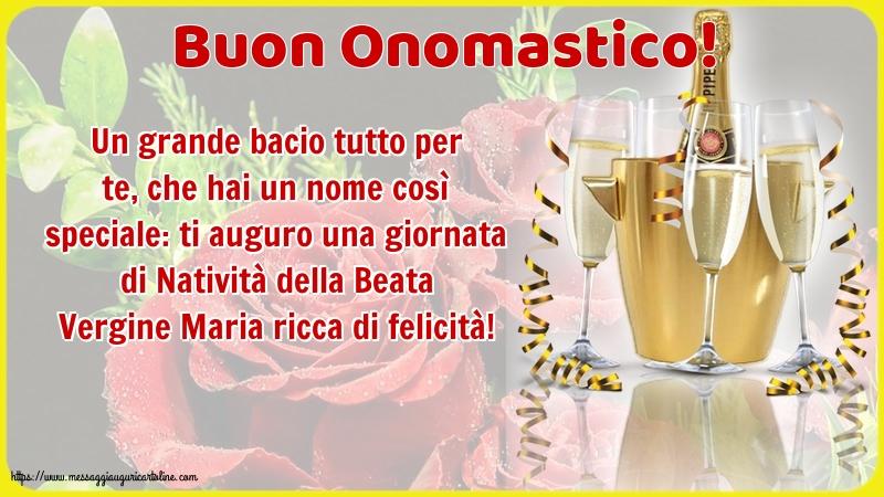 Cartoline per la Natività della Beata Vergine Maria con champagne - Buon Onomastico!
