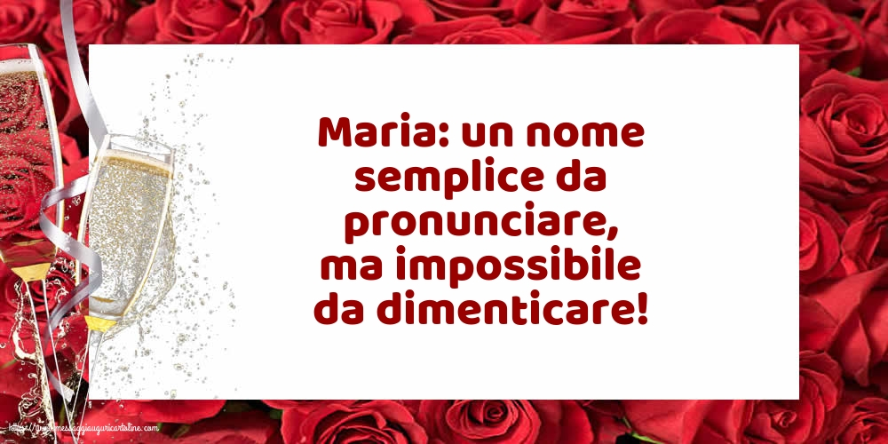 Cartoline per la Natività della Beata Vergine Maria con champagne - Maria: un nome semplice da pronunciare