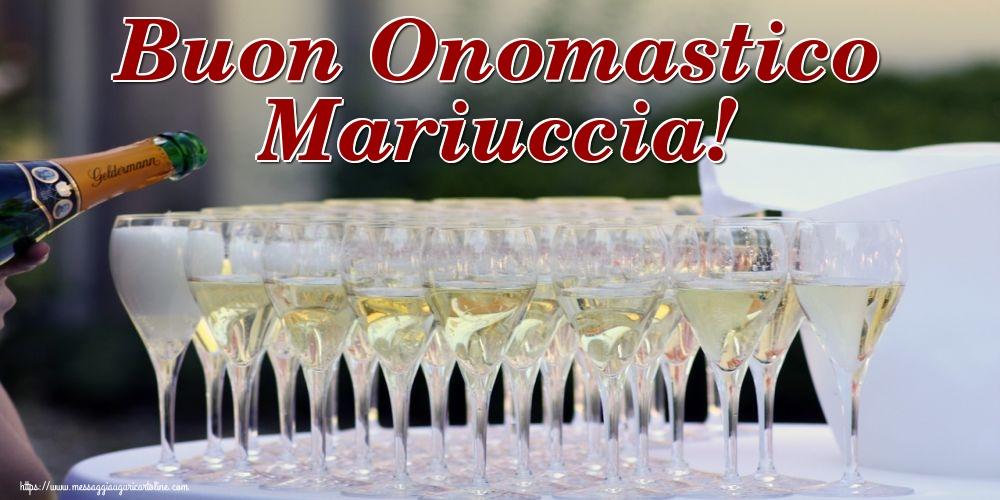 Cartoline per la Natività della Beata Vergine Maria con champagne - Buon Onomastico Mariuccia!