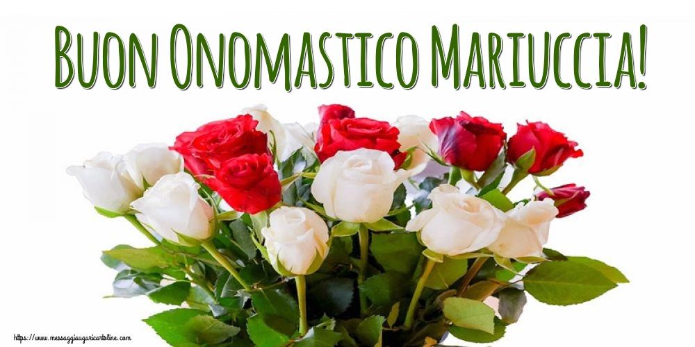 Cartoline per la Natività della Beata Vergine Maria con fiori - Buon Onomastico Mariuccia!