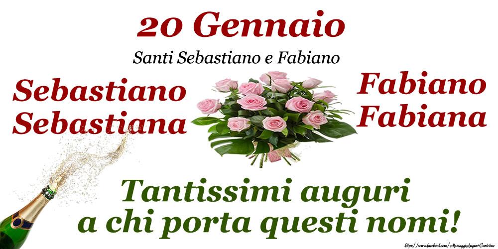 Cartoline di onomastico - 20 Gennaio - Santi Sebastiano e Fabiano