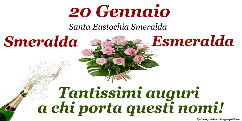 Cartoline di onomastico - 20 Gennaio - Santa Eustochia Smeralda