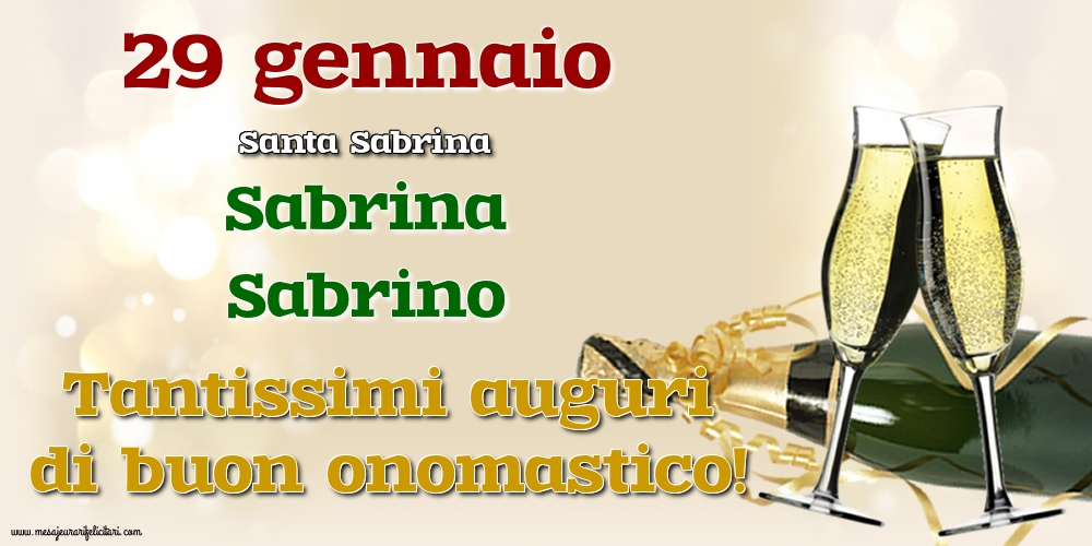 Cartoline di onomastico - 29 gennaio - Santa Sabrina