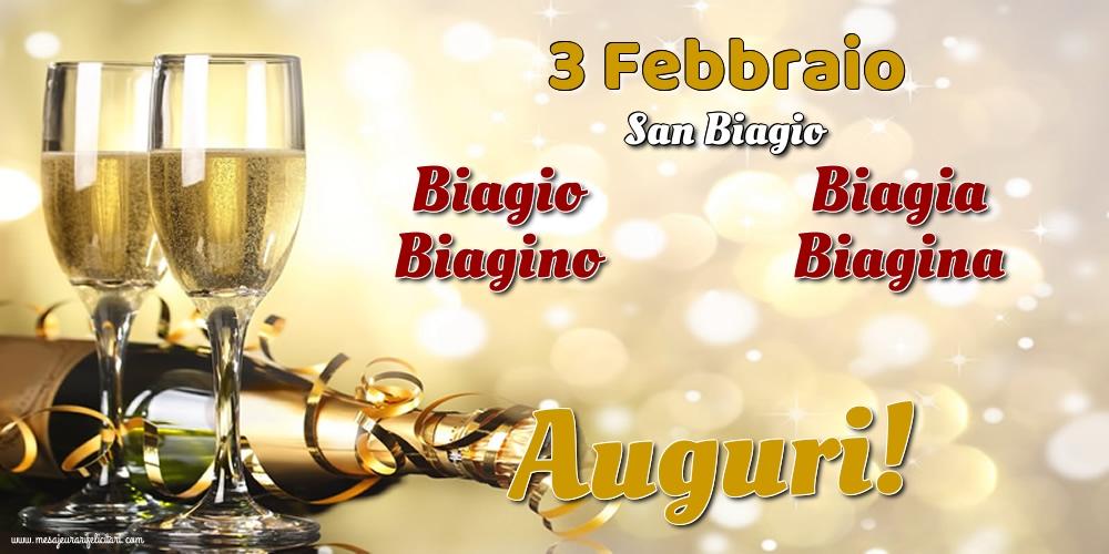 Cartoline di onomastico - 3 Febbraio - San Biagio