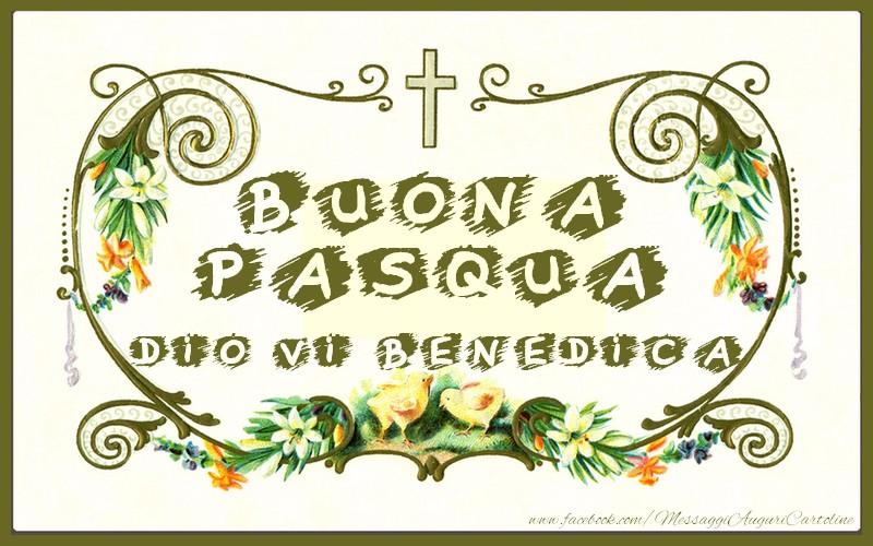 Cartoline di Pasqua - Buona pasqua. Dio vi benedica