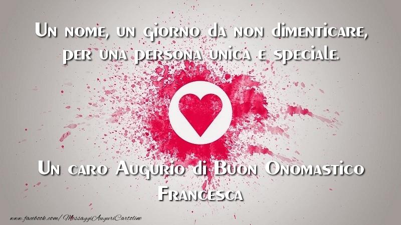 Cartoline di San Francesco - Un caro Augurio di Buon Onomastico Francesca