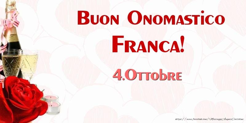 Cartoline di San Francesco - Buon Onomastico Franca! 4.Ottobre