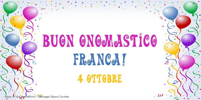 Cartoline di San Francesco - Buon onomastico Franca! 4 Ottobre