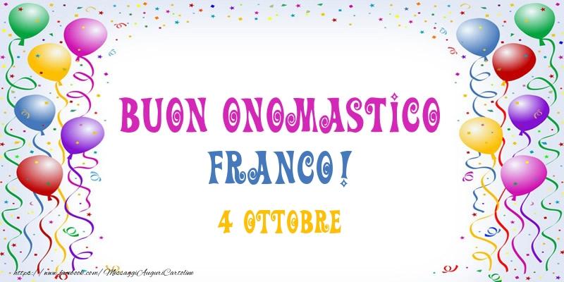 Cartoline di San Francesco - Buon onomastico Franco! 4 Ottobre