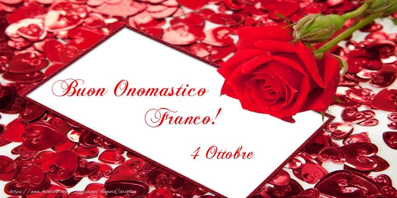 Cartoline di San Francesco - Buon Onomastico Franco! 4 Ottobre - messaggiauguricartoline.com
