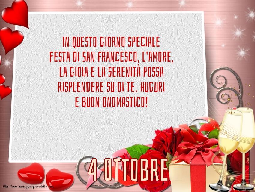 Cartoline di San Francesco - 4 Ottobre - 4 Ottobre - Auguri e buon onomastico!