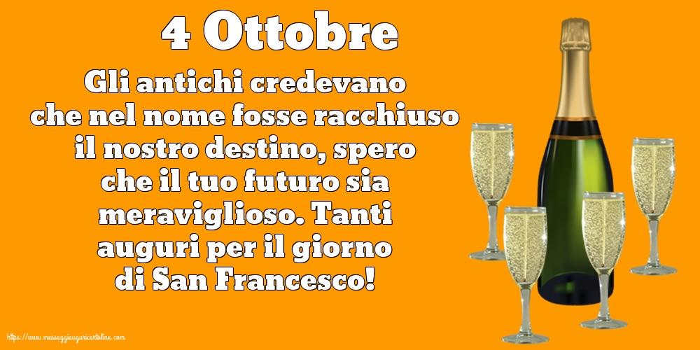 Cartoline di San Francesco - 4 Ottobre - 4 Ottobre - Tanti auguri per il giorno di San Francesco!