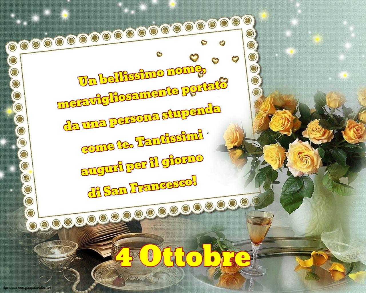 Cartoline di San Francesco - 4 Ottobre - 4 Ottobre - Tantissimi auguri per il giorno di San Francesco!
