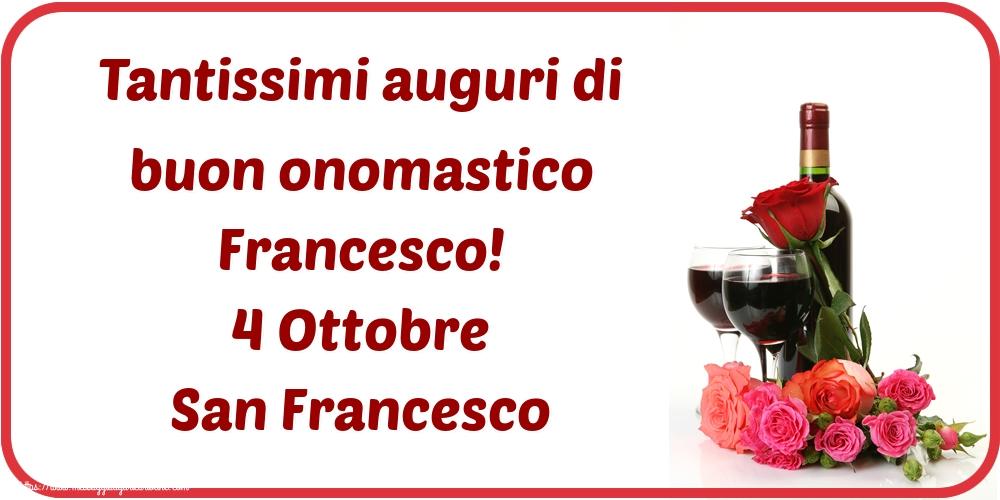 Cartoline di San Francesco - Tantissimi auguri di buon onomastico Francesco! 4 Ottobre San Francesco