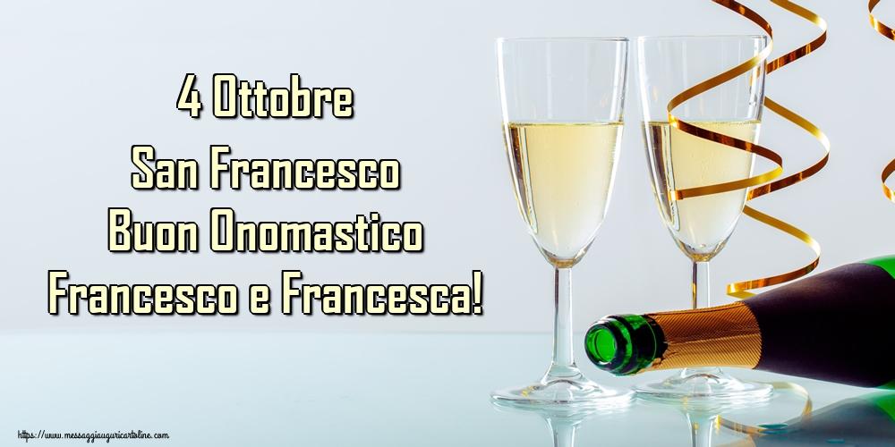 Cartoline di San Francesco - 4 Ottobre San Francesco Buon Onomastico Francesco e Francesca!