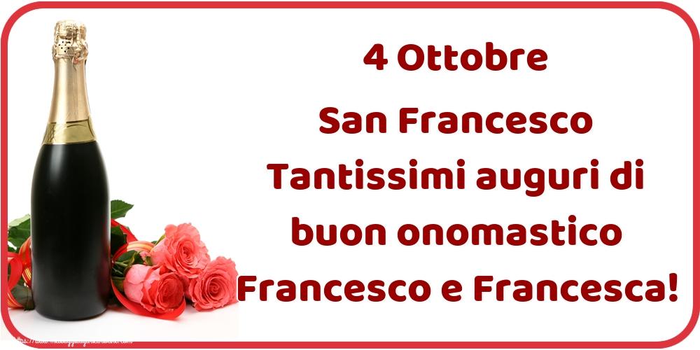 Cartoline di San Francesco - 4 Ottobre San Francesco Tantissimi auguri di buon onomastico Francesco e Francesca!