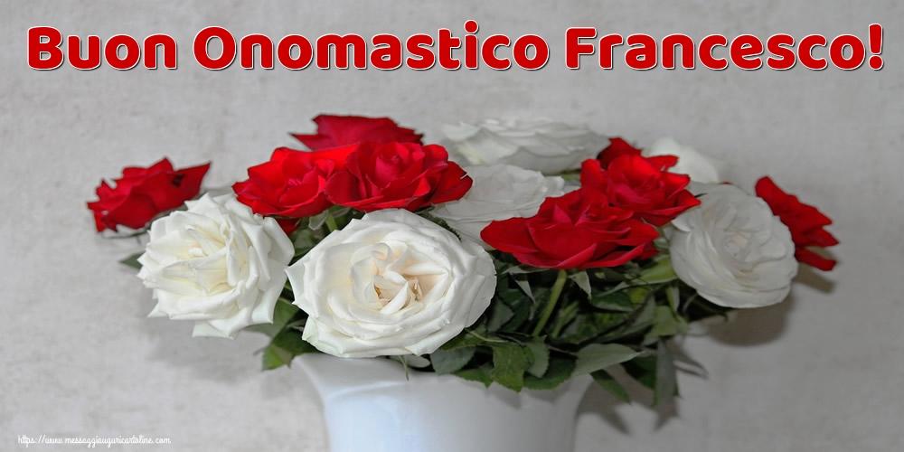 Cartoline di San Francesco con fiori - Buon Onomastico Francesco!