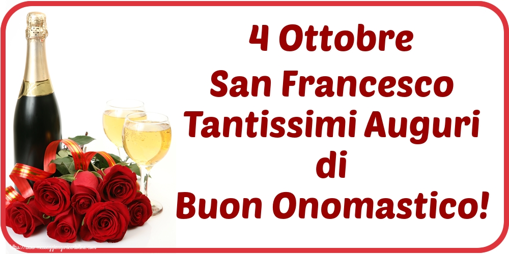 Cartoline di San Francesco - 4 Ottobre San Francesco Tantissimi Auguri di Buon Onomastico! - messaggiauguricartoline.com