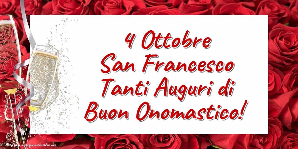 Cartoline di San Francesco - 4 Ottobre San Francesco Tanti Auguri di Buon Onomastico! - messaggiauguricartoline.com