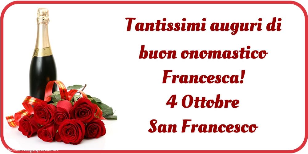Cartoline di San Francesco - Tantissimi auguri di buon onomastico Francesca! 4 Ottobre San Francesco