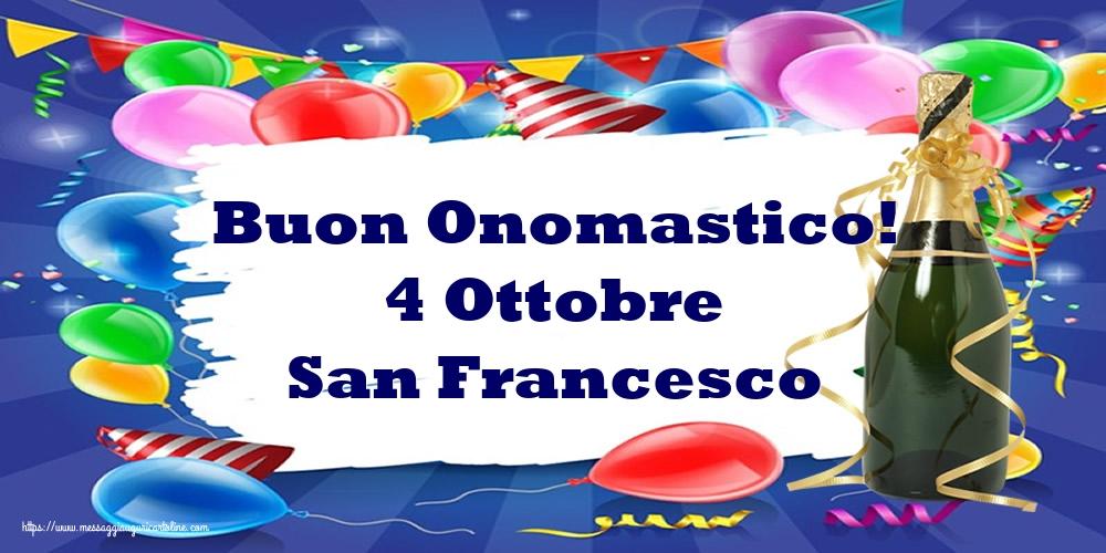 Cartoline di San Francesco - Buon Onomastico! 4 Ottobre San Francesco