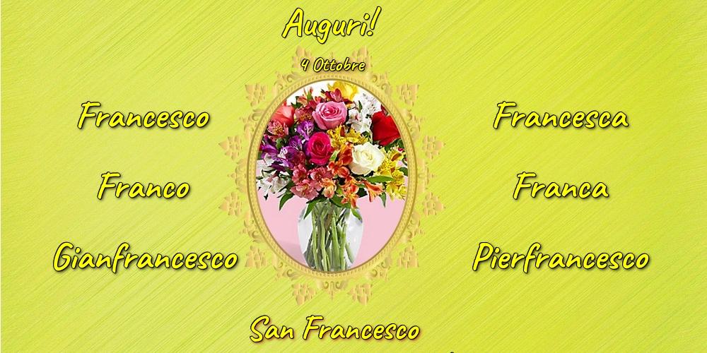 Cartoline di San Francesco con fiori - 4 Ottobre - San Francesco