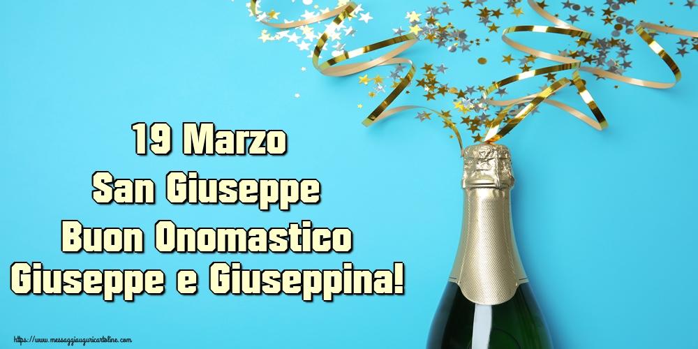 Cartoline di San Giuseppe - 19 Marzo San Giuseppe Buon Onomastico Giuseppe e Giuseppina!