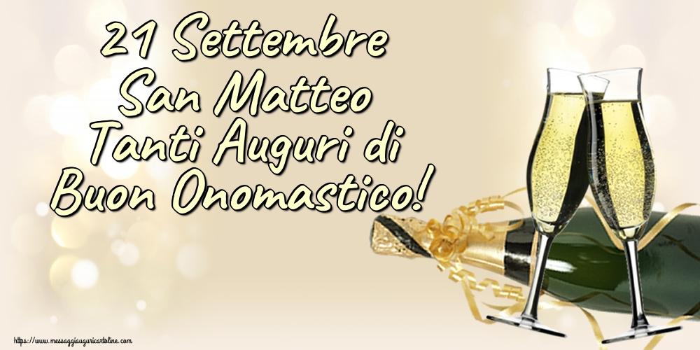 Cartoline di San Matteo - 21 Settembre San Matteo Tanti Auguri di Buon Onomastico!