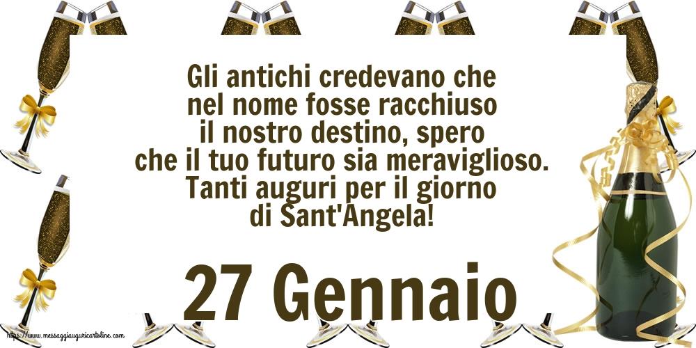 Cartoline di Sant' Angela - 27 Gennaio - Tanti auguri per il giorno di Sant'Angela!