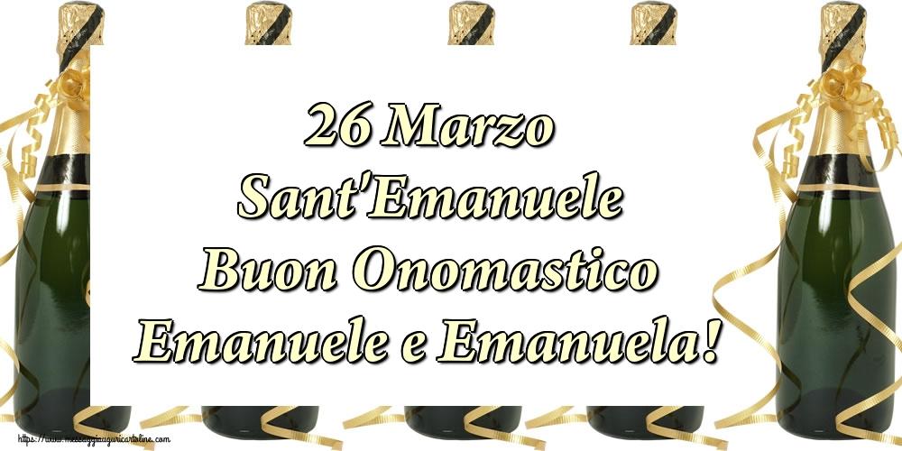 Cartoline di Sant'Emanuele - 26 Marzo Sant'Emanuele Buon Onomastico Emanuele e Emanuela!