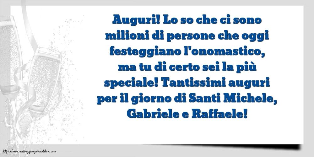 Cartoline di Santi Michele, Gabriele e Raffaele - Tantissimi auguri per il giorno di Santi Michele, Gabriele e Raffaele!