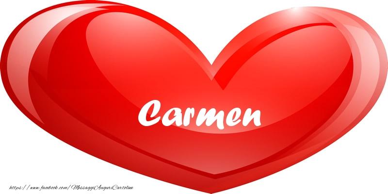 Cartoline d'amore - Il nome Carmen nel cuore